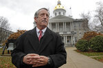 FILE - In this Tuesday, Nov. 12, 2019, file photo, Republican presidential candidate former South Carolina Gov. Mark Sanford speaks during a news conference in front of the State House in Concord, N.H., where he announced he is ending his long-shot 2020 presidential bid. The quadrennial chaos has quieted down at the New Hampshire secretary of state's office with the closing of the filing period for the first-in-the-nation presidential primary. (AP Photo/Elise Amendola, File)