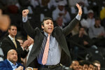 "FILE - In this Jan. 25 2020, file photo, Georgia Tech head coach Josh Pastner calls a play in the first half of an NCAA college basketball game against North Carolina State, in Atlanta. In the wake of nationwide protests over police brutality, Georgia Tech wants to make sure its athletes take  time to vote in November. The school said Thursday, June 4, 2020, that nine teams will cancel all mandatory activities on the Nov. 3 to recognize the importance of casting a ballot. Pastner said George Floyd's death has given everyone a chance to evaluate ""the way we treat each other as human beings and what we can and should do to back up our words.""(AP Photo/Danny Karnik, File)"