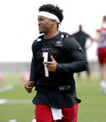 Arizona Cardinals' Kyler Murray works out during an NFL football rookies camp, Friday, May 10, 2019, at the team's' training facility in Tempe, Ariz. (AP Photo/Matt York)