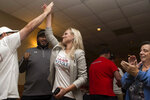 Lauren Witzke celebrates after winning Delaware's Republican U.S. Senate primary, Tuesday, Sept. 15, 2020, in Dover, Del. Witzke, a political newcomer, defeated attorney James DeMartino to become the GOP nominee for the seat currently held by Democrat Chris Coons. (Andre Lamar/The News Journal via AP)
