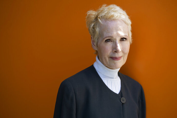 FILE - In this June 23, 2019 file photo,  E. Jean Carroll is photographed in New York. Carroll, who says President Donald Trump sexually assaulted her in a New York City department store dressing room in the 1990s, is now suing him for alleged defamation. The advice columnist filed a lawsuit Monday, Nov. 4 in New York. The suit says Trump harmed her reputation and career when he said she was lying and he'd never even met her.   (AP Photo/Craig Ruttle, File)