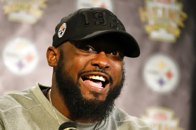 Pittsburgh Steelers head coach Mike Tomlin meets with reporters after an NFL football game against the Cleveland Browns in Pittsburgh, Sunday, Dec. 1, 2019. (AP Photo/Gene J. Puskar)