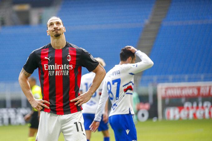 AC Milan's Zlatan Ibrahimovic reacts during the Serie A soccer match between AC Milan and Sampdoria at the San Siro stadium, in Milan, Italy, Saturday, April 3, 2021. (AP Photo/Antonio Calanni)