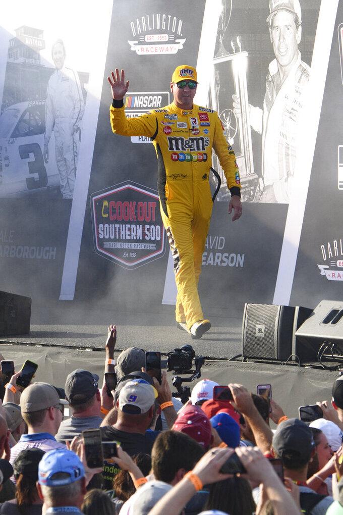 Kyle Busch is introduced before a NASCAR Cup Series auto race Sunday, Sept. 5, 2021, in Darlington, S.C. (AP Photo/John Amis)