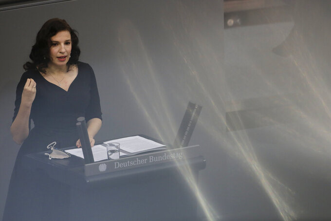 Ukrainian born Jew Marina Weisband delivers a speech at the German Federal Parliament, Bundestag, at the Reichstag building in Berlin, Germany, Wednesday, Jan. 27, 2021 during a special meeting commemorating the victims of the Holocaust on the International Holocaust Remembrance Day. (AP Photo/Markus Schreiber)