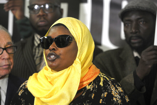 Omo Mohammed, mother of slain teen Mubarak Soulemane, speaks at a news conference in Bridgeport, Conn. Feb. 20, 2020. Soulemane, 19, was shot and killed by police in West Haven after he allegedly stole a car from an individual in Norwalk and fled from police at high at speeds that reached 90 mph along Interstate 95. His family announced Thursday, Feb. 20, 2020 they intend to file a $10 million lawsuit against the state, the state police, the city of West Haven and the West Haven Police Department. (Ned Gerard/Hearst Connecticut Media via AP)