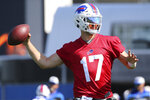 Buffalo Bills quarterback Josh Allen throws a pass during an NFL football training camp practice in Orchard Park, N.Y., Monday Aug. 2, 2021. (AP/ Photo Jeffrey T. Barnes)
