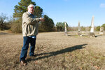 Ralph Farrell describes the use of ground penetrating radar to locate over 200 unmarked graves at the Red Banks cemetery in Marshall County, Miss.. Most of these graves likely belong to slaves (Thomas Wells/The Northeast Mississippi Daily Journal via AP)
