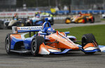 Scott Dixon, of New Zealand, races during the second race of the IndyCar Detroit Grand Prix auto racing doubleheader in Detroit, Sunday, June 2, 2019. (AP Photo/Paul Sancya)