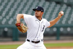 Detroit Tigers pitcher Tyler Alexander throws against the Cincinnati Reds in the fourth inning of the first baseball game of a doubleheader in Detroit, Sunday, Aug. 2, 2020. (AP Photo/Paul Sancya)