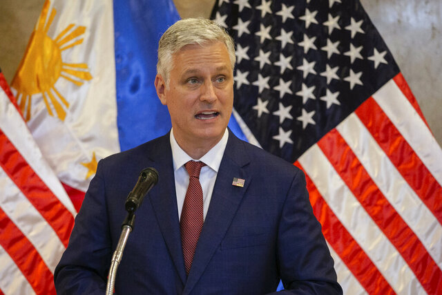 U.S. National Security Advisor Robert O'Brien speaks during the turnover ceremony of defense articles at the Department of Foreign Affairs in Pasay City, Philippines Monday, Nov. 23, 2020. (Eloisa Lopez/Pool Photo via AP)