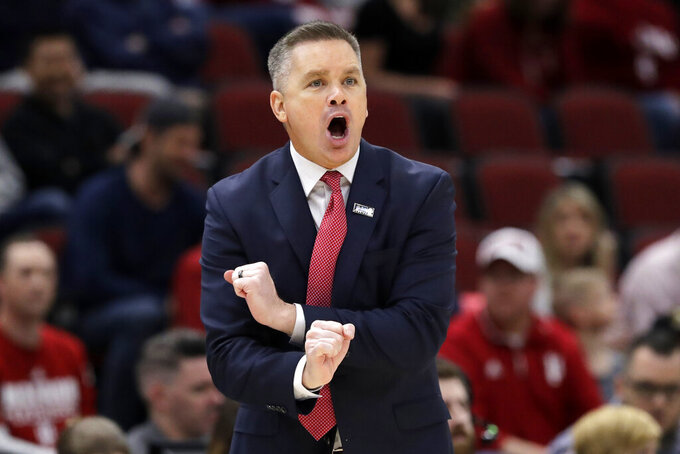FILE - In this March 14, 2019, file photo, Ohio State head coach Chris Holtmann directs his team during the first half of an NCAA college basketball game against the Indiana in the second round of the Big Ten Conference tournament in Chicago. Ohio State looks to rebound after a disappointing, inconsistent season last year. (AP Photo/Nam Y. Huh)