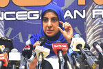 Latheefa Koya, chief of the Malaysian Anti-Corruption Commission, speaks during a press conference in Putrajaya, Malaysia, Wednesday, Jan. 8, 2020. Anti-Corruption Commission released a series of audio recordings allegedly showing how former Prime Minister Najib Razak abused his power to conceal wrongdoings linked to a massive corruption scandal involving the 1MDB state investment fund. (AP Photo)