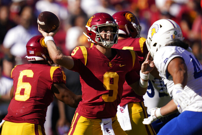 Southern California quarterback Kedon Slovis (9) throws a pass during the second half of an NCAA college football game against San Jose State Saturday, Sept. 4, 2021, in Los Angeles. (AP Photo/Ashley Landis)