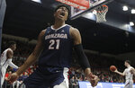 Gonzaga forward Rui Hachimura (21) yells after dunking against Saint Mary's during the first half of an NCAA college basketball game in Moraga, Calif., Saturday, March 2, 2019. (AP Photo/Jeff Chiu)