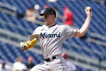 Miami Marlins starting pitcher Trevor Rogers throws during the first inning of a baseball game against the Washington Nationals at Nationals Park, Wednesday, Sept. 15, 2021, in Washington. (AP Photo/Alex Brandon)