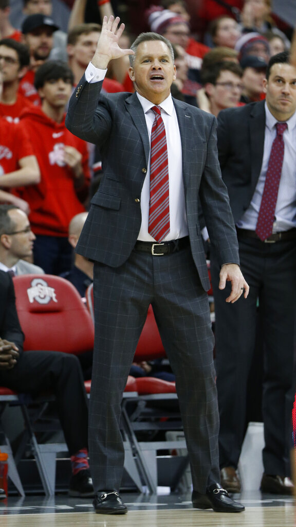 Ohio State head coach Chris Holtmann instructs his team during the second half of an NCAA college basketball game against Penn State, Saturday, Dec. 7, 2019, in Columbus, Ohio. Ohio State beat Penn State 104-74. (AP Photo/Jay LaPrete)
