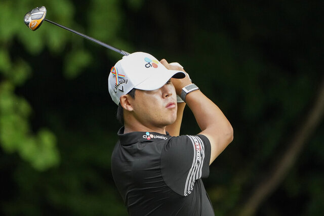 Si Woo Kim, of South Korea, drives on the second hole during the third round of the Wyndham Championship golf tournament at Sedgefield Country Club on Saturday, Aug. 15, 2020, in Greensboro, N.C. (AP Photo/Chris Carlson)