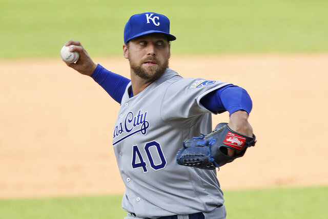 FILE - In this July 25, 2020, file photo, Kansas City Royals relief pitcher Trevor Rosenthal delivers in the eighth inning of a baseball game against the Cleveland Indians in Cleveland. The San Diego Padres acquired Rosenthal in a trade with the Royals on Saturday, Aug. 29, 2020, bolstering their bullpen for their pursuit of their first playoff appearance in 14 years. (AP Photo/Tony Dejak, File)