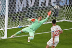 Switzerland's goalkeeper Yann Sommer saves during the Euro 2020 soccer championship group A match between Italy and Switzerland at the Rome Olympic stadium, Wednesday, June 16, 2021. (AP Photo/Riccardo Antimiani, Pool)