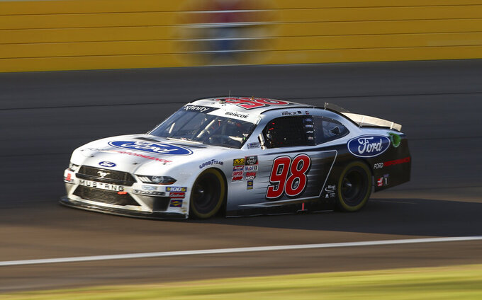 Chase Briscoe drives during a NASCAR Xfinity Series auto race at Las Vegas Motor Speedway, Saturday, Sept. 14, 2019, in Las Vegas. (Chase Stevens/Las Vegas Review-Journal via AP)