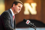 Trev Alberts speaks after he was is introduced as Nebraska's new athletic director during a news conference, Wednesday, July 14, 2021, at Memorial Stadium in Lincoln, Neb. (Chris Machian/Omaha World-Herald via AP)