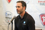 FILE - Jimmie Johnson speaks about joining the team of Chip Ganassi for the IndyCar series at a press conference during the IndyCar race weekend in St. Petersburg, Fla., in this Saturday, Oct. 24, 2020, file photo. Jimmie Johnson, with wisps of gray in his beard, is a 45-year-old rookie in the IndyCar Series ready to reintroduce himself. (AP Photo/Mike Carlson, File)
