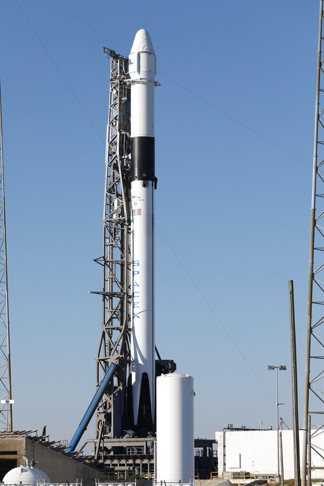 A Falcon 9 SpaceX rocket on a resupply mission to the International Space Station stands ready for launch at Space Launch Complex 40 at the Cape Canaveral Air Force Station in Cape Canaveral, Fla., Wednesday, Dec. 4, 2019. (AP Photo/Terry Renna)