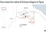 Map of Ethiopia's northern Tigray region locates camps.