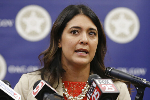 FILE - In this Sept. 12, 2019, file photo, Oklahoma state Sen. Stephanie Bice, R-Oklahoma City, speaks during a news conference in Oklahoma City. Bice is one of two Oklahoma City women, each touting their conservative credentials and support for President Donald Trump, who will face off Tuesday, Aug. 25, 2020, in a testy GOP primary runoff for the opportunity to unseat the lone Democrat in the state's congressional delegation. (AP Photo/Sue Ogrocki, File)