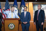 """Rep. Jim Jordan, R-Ohio, speaks during a news conference as Rep. Jim Banks, R-Ind., and House Minority Leader Kevin McCarthy, R-Calif., looks on at Capitol Hill, in Washington, Wednesday, July 21, 2021. Pelosi is rejecting two Republicans tapped by House GOP Leader Kevin McCarthy to sit on a committee investigating the Jan. 6 Capitol insurrection. She cited the """"integrity"""" of the investigation. (AP Photo/Jose Luis Magana)"""