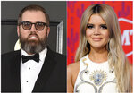"This combination photo shows songwriter and producer busbee, whose real name was Michael James Ryan, at the 59th annual Grammy Awards in Los Angeles. on Feb. 12, 2017, left, and singer Maren Morris at the CMT Music Awards in Nashville, Tenn. on June 5, 2019. As the most-nominated act at an event for a music genre dominated by its male performers, Morris has become one of the key female faces of country music. She will pay tribute to her producer busbee, who died in September at age 43 and shares two nominations with Morris for his work on her acclaimed project, ""GIRL.""  (AP Photo)"