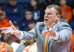 Illinois head coach Brad Underwood reacts during the first half of an NCAA college basketball game against Penn State in Champaign, Ill., Saturday, Feb. 23, 2019.(AP Photo/Robin Scholz)