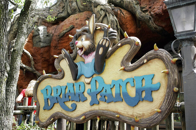 """FILE - In this March 21, 2007, file photo, the character Brer Rabbit, from the movie, Song of the South, is depicted at the entrance to the Briar Patch gift shop near the Splash Mountain ride in the Magic Kingdom at Walt Disney World in Lake Buena Vista, Fla. Racially segregated movie theaters disappeared decades ago after court rulings struck down the legal framework of Jim Crow America, but another element of the era just won't die: Walt Disney's 1946 movie """"Song of the South."""" The company didn't include the film in its new Disney Plus streaming service.  (AP Photo/John Raoux, File)"""