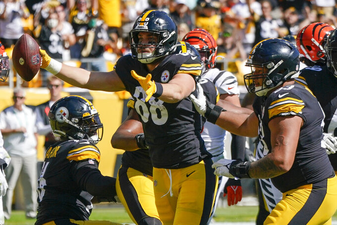 Pittsburgh Steelers tight end Pat Freiermuth (88) celebrates after scoring a touchdown against the Cincinnati Bengals during the first half an NFL football game, Sunday, Sept. 26, 2021, in Pittsburgh. (AP Photo/Gene J. Puskar)
