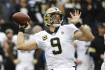 New Orleans Saints quarterback Drew Brees passes against the Tennessee Titans in the first half of an NFL football game Sunday, Dec. 22, 2019, in Nashville, Tenn. (AP Photo/James Kenney)