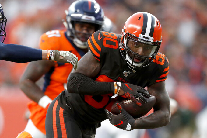 Cleveland Browns wide receiver Jarvis Landry (80) makes a catch against the Denver Broncos during the second half of NFL football game, Sunday, Nov. 3, 2019, in Denver. (AP Photo/David Zalubowski)
