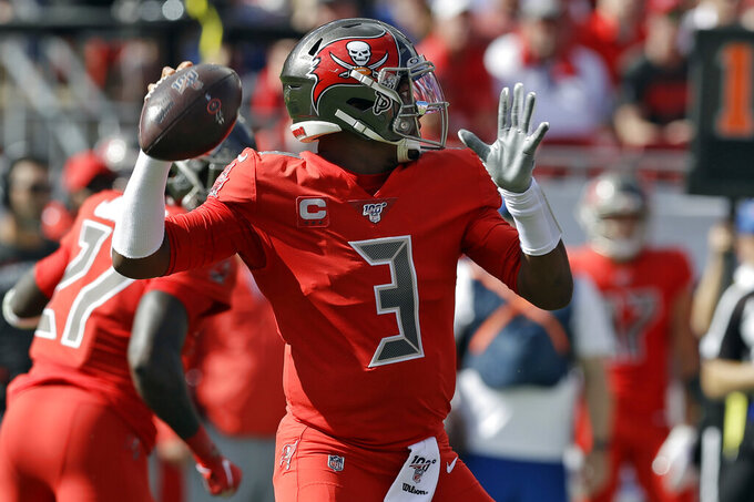 Tampa Bay Buccaneers quarterback Jameis Winston (3) throws a interception to Indianapolis Colts outside linebacker Darius Leonard during the first half of an NFL football game Sunday, Dec. 8, 2019, in Tampa, Fla. (AP Photo/Chris O'Meara)