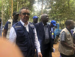 WHO Director-General, Dr Tedros Adhanom Ghebreyesus visits an Ebola treatment centre in Butembo, in the Democratic Republic of the Congo, Saturday March 9, 2019. Armed assailants again attacked an Ebola treatment center in the heart of eastern Congo's deadly outbreak on Saturday, with one police officer killed and health workers injured. (Dalia Lourenco/WHO via AP)