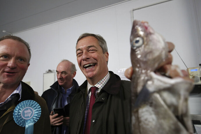 Brexit Party Leader Nigel Farage holds a fish during an event at the Grimsby Seafood Village, with local Brexit Party candidate Christopher Barker, left, part of the General Election campaign trail, in Grimsby, England, Thursday, Nov. 14, 2019. Britain goes to the poll on Dec. 12. (Danny Lawson/PA via AP)