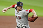 Boston Red Sox pitcher Chris Mazza works against the Atlanta Braves during the first inning of a baseball game Friday, Sept. 25, 2020, in Atlanta. (AP Photo/John Amis)