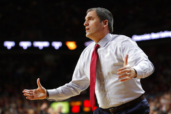 Iowa State coach Steve Prohm reacts to a call against his team during the first half of an NCAA college basketball game against West Virginia, Wednesday, Jan. 30, 2019, in Ames, Iowa. (AP Photo/Charlie Neibergall)