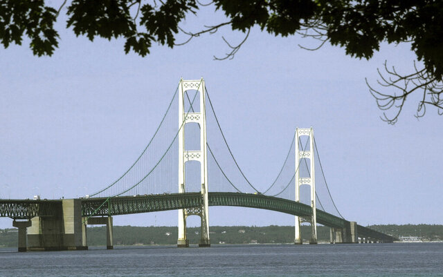 FILE - This July 19, 2002, file photo, shows the Mackinac Bridge that spans the Straits of Mackinac from Mackinaw City, Mich. Supporters and opponents of a proposed oil pipeline tunnel beneath the Great Lakes channel are making their case to federal officials. The Army Corps of Engineers hosted an online public hearing Monday, Jan. 11, 2021, on Enbridge's application for a permit. The Canadian pipeline company wants to drill a nearly 4-mile (6.4-kilometer) tunnel through bedrock under the Straits of Mackinac that would house a replacement for twin pipes that have run along the bottom of the waterway connecting Lake Huron and Lake Michigan for 67 years.(AP Photo/Carlos Osorio, File)