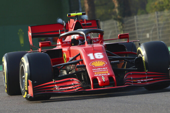 Ferrari driver Charles Leclerc of Monaco steers his racer during qualifications for Sunday's Emilia Romagna Formula One Grand Prix, at the Dino and Enzo Ferrari racetrack, in Imola, Italy, Saturday, Oct. 31, 2020. (Davide Gennari/Pool Photo)