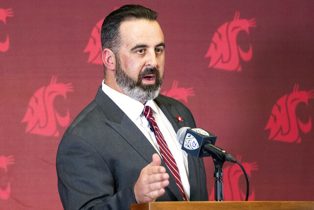 New Washington State football coach Nick Rolovich speaks during a news conference after being officially introduced as the head coach on Thursday, Jan. 16, 2020, in Pullman, Wash. (Pete Caster/Lewiston Tribune via AP)