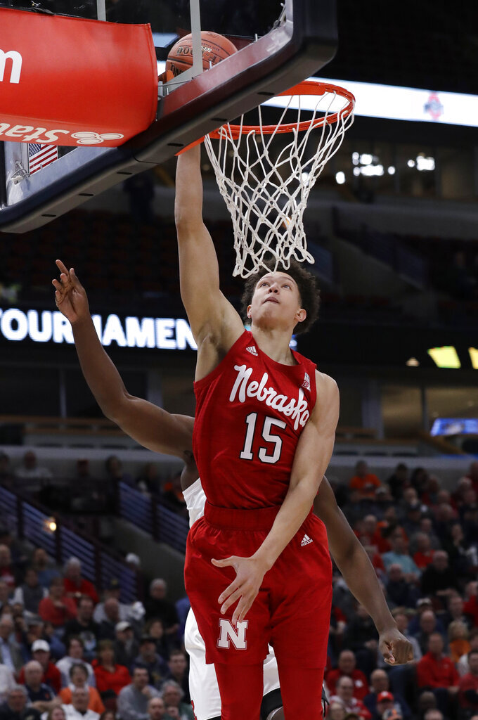 Nebraska forward Isaiah Roby scores against Rutgers during the first half of an NCAA college basketball game in the first round of the Big Ten Conference tournament in Chicago, Wednesday, March 13, 2019. (AP Photo/Nam Y. Huh)