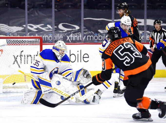 Buffalo Sabres' goaltender Linus Ullmark, left, is unable to make a save on a goal by Philadelphia Flyers' Shayne Gostisbehere (53) during the third period of an NHL hockey game, Sunday, April 11, 2021, in Philadelphia. (AP Photo/Derik Hamilton)
