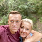 In this photo published by Russian opposition leader Alexei Navalny on his instagram account on Friday, Sept. 25, 2020, Russian opposition leader Alexei Navalny and his wife Yulia pose for a selfie in an unknown location in Germany. This week Navalny was discharged from a Berlin hospital after being treated for what German authorities determined to be nerve agent poisoning. In an Instagram post on Friday, the politician thanked Russian pilots for landing the plane after he collapsed into a coma on Aug. 20 and medics at the Omsk airport injecting him with atropine, saying they gave him