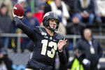 FILE - In this Nov. 2, 2019, file photo, Purdue quarterback Jack Plummer (13) throws against Nebraska during the first half of an NCAA college football game in West Lafayette, Ind. Purdue hosts Oregon State in their season opener.   (AP Photo/Michael Conroy, File)
