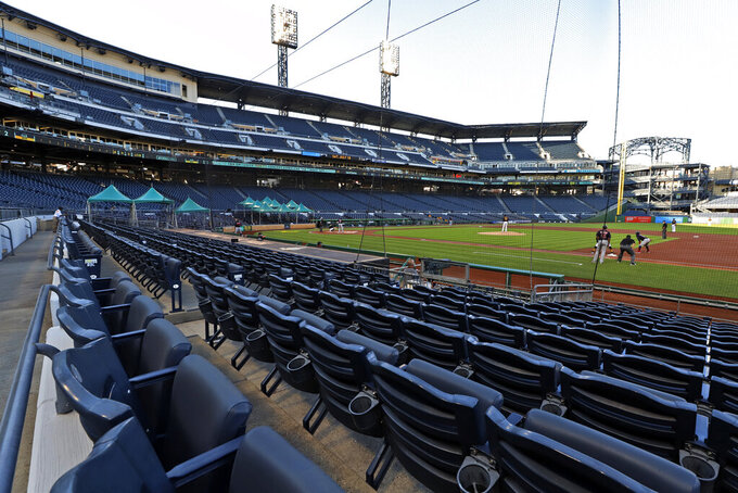 The Cleveland Indians bat in the top of the first inning during an exhibition baseball game against the Pittsburgh Pirates at PNC Park in Pittsburgh, Saturday, July 18, 2020. (AP Photo/Gene J. Puskar)